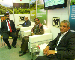 Mr Ram Singh, Head of Chancery, Embassy of India having discussion at the Tea Board Booth