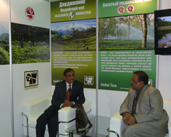 Mr Ram Singh, Head of Chancery, Embassy of India having discussion with Shri M G V K Bhanu, Chairman Tea Board